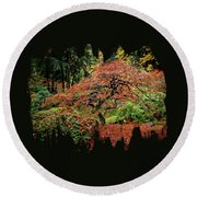 Round Beach Towel featuring the photograph Japanese Maple At The Japanese Gardens Portland by Thom Zehrfeld
