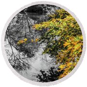 Japanese Maple Pop Round Beach Towel