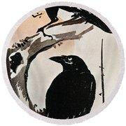Japanese Print: Crow Round Beach Towel