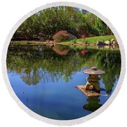 Japanese Reflections At Maymont Round Beach Towel by Rick Berk
