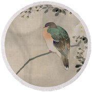 Japanese Silk Painting Of A Wood Pigeon Round Beach Towel