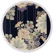 Japanese Style Flower Modern Interior Art Painting. Round Beach Towel