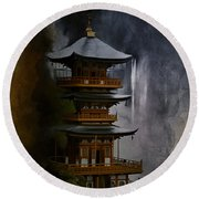 Japanese Temple. Round Beach Towel