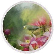 Japanese White-eye On A Blooming Tree Round Beach Towel