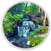 Japanese Waterfall Garden Round Beach Towel