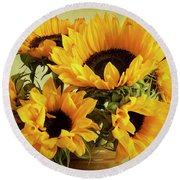 Jar Of Sunflowers Round Beach Towel