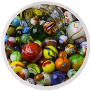 Jar Pouring Out Glass Marbles Round Beach Towel
