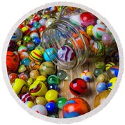 Jar Spilling Colorful Marbles Round Beach Towel