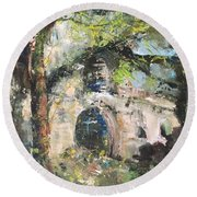 Jardin D'au Paradis  Round Beach Towel by Robin Miller-Bookhout