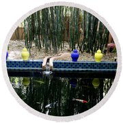 Round Beach Towel featuring the photograph Jardin Majorelle by Andrew Fare