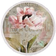 Jardin Rouge I Round Beach Towel by Mindy Sommers