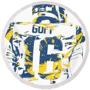 Jared Goff Los Angeles Rams Pixel Art 2 Round Beach Towel