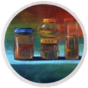 Round Beach Towel featuring the painting Jars Still Life Painting by Nancy Merkle