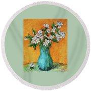 Jasmine Flowers In A Blue Pot Round Beach Towel