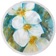 Round Beach Towel featuring the painting Jasmine by Jasna Dragun