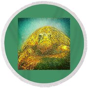 Jasmine The Turtle Round Beach Towel by Erika Swartzkopf