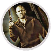 Jason Statham - Actor Painting Round Beach Towel