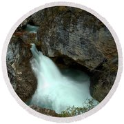 Jasper Beauty Creek Waterfall Canyon Round Beach Towel