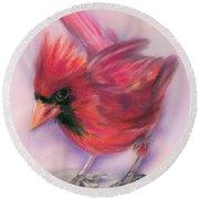 Jaunty Redbird Cardinal Round Beach Towel