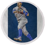 Javier Baez Chicago Cubs Art Round Beach Towel
