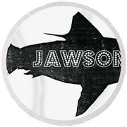 Jawsome Round Beach Towel by Michelle Calkins