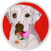 Jax With Ball In Red Round Beach Towel