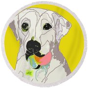 Jax With Ball In Yellow Round Beach Towel