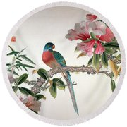 Jay On A Flowering Branch Round Beach Towel by Chinese School