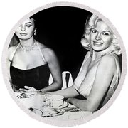 Jayne Mansfield Hollywood  Actress Sophia Loren 1957 Round Beach Towel