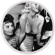 Jayne Mansfield Hollywood Actress And, Italian Actress Sophia Loren 1957 Round Beach Towel