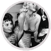 Jayne Mansfield Hollywood Actress And, Italian Actress Sophia Loren 1957 Round Beach Towel