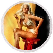 Jayne Mansfield Hollywood Actress And Pinup Round Beach Towel by Frank Falcon