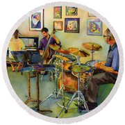Jazz At The Gallery Round Beach Towel
