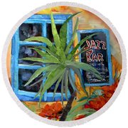 Jazz Bar In Santorini Round Beach Towel