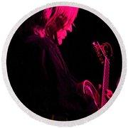 Round Beach Towel featuring the photograph Jazz Guitarist by Lori Seaman
