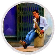 Round Beach Towel featuring the photograph Jazz In The Street by David Dehner