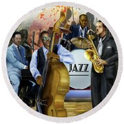 Jazz Jazz Jazz Round Beach Towel