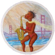 Round Beach Towel featuring the painting Jazz San Francisco by Xueling Zou
