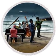 Jazz The Cool Of The Ocean Round Beach Towel