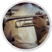 Jazz Trumpet New Orleans Round Beach Towel by Garry Gay