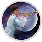 Jazz Universe Round Beach Towel