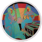 Jazzamatazz Band Round Beach Towel