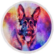 Jazzy German Shepherd Colorful Dog Art By Jai Johnson Round Beach Towel