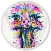 Round Beach Towel featuring the painting Jazzzy Ostrich by Zaira Dzhaubaeva