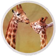 Je T'aime Giraffes Round Beach Towel by Terri Waters