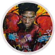 Jean-michel Basquiat Round Beach Towel