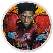 Jean-michel Basquiat Round Beach Towel by Richard Day