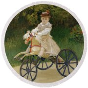 Round Beach Towel featuring the painting Jean Monet On His Hobby Horse           by Claude Monet