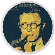 Jean Paul Sartre Round Beach Towel