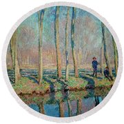 Jean Pierre Hoschede And Michel Monet On The Bank Of The Epte Round Beach Towel
